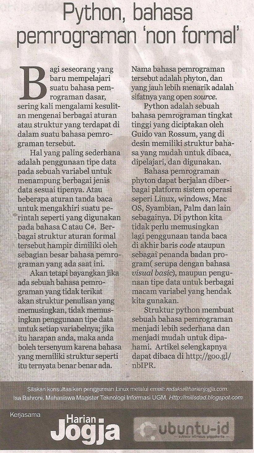 Kliping Harian Jogja 12 Desember 2010 Halaman 23 Dedy Selalu Milisdad